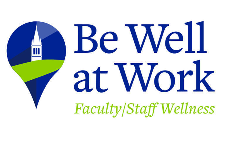 Be Well at Work's title logo, a navigation marker surrounding a picture of the Campanile.