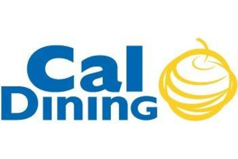 Cal Dining's logo, its title in blue next to a yellow apple.
