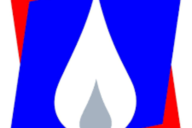 EBCB's logo, a grey and white teardrop shape in front of two red and blue parallelograms.