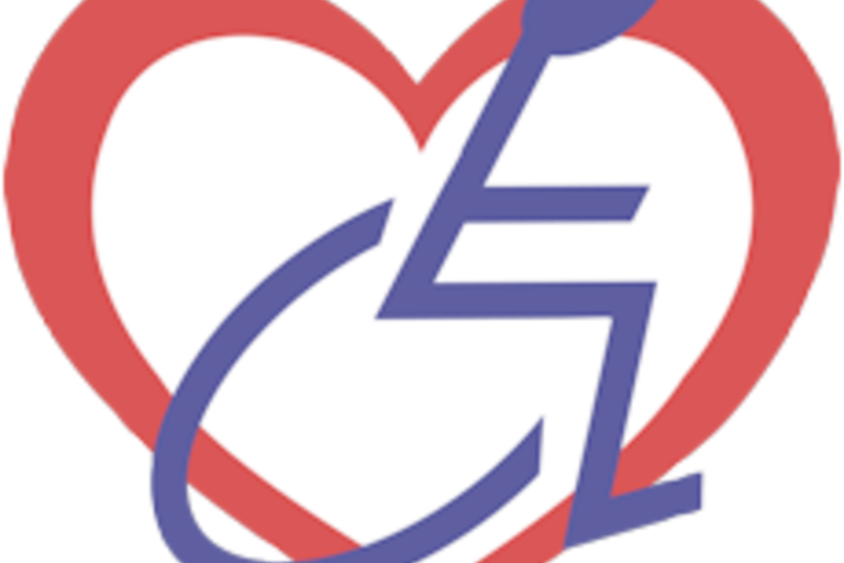 EDI's logo, a  purple wheelchair logo encased in a red heart.