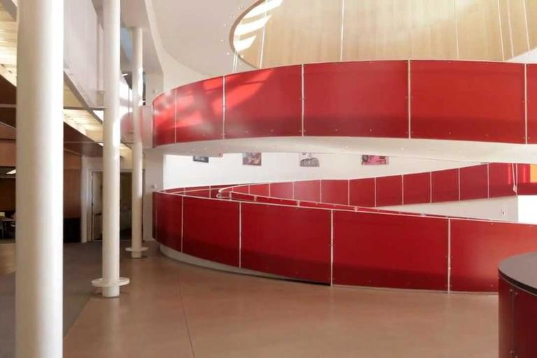 A winding red ramp, located at the ERC.