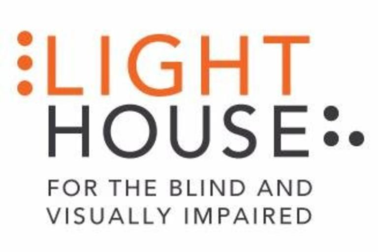 "The words ""Lighthouse for the Blind"" surrounded by the Braille symbols for L and H."