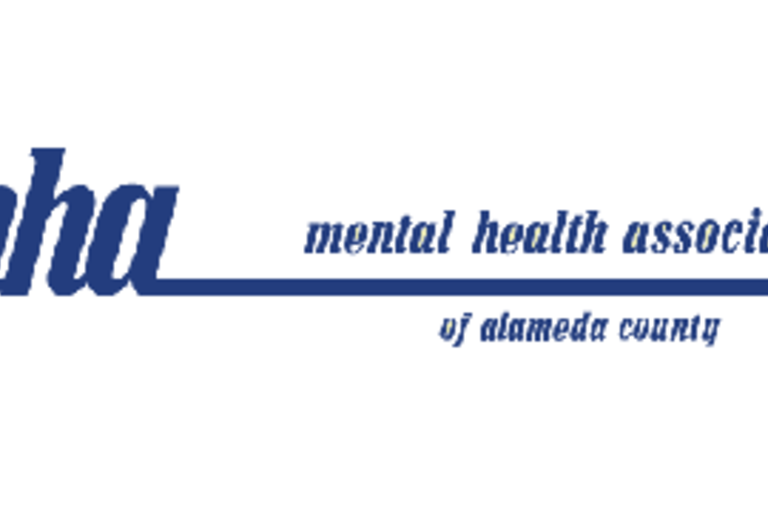 The words MHA: Mental Health Association of Alameda County written in blue font.