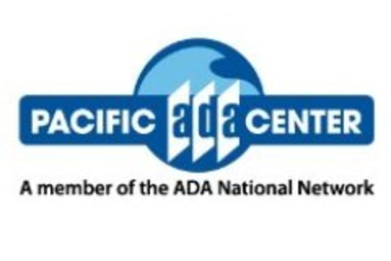 The words Pacific ADA Center with a blue wave logo in the background.