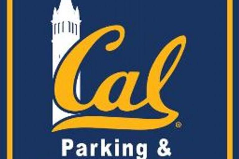 """The phrase """"Cal: Parking and Transportation"""" with a picture of the Campanile in the background."""