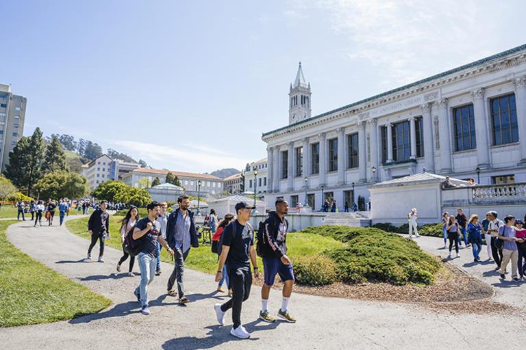 Students walking through Memorial Glade