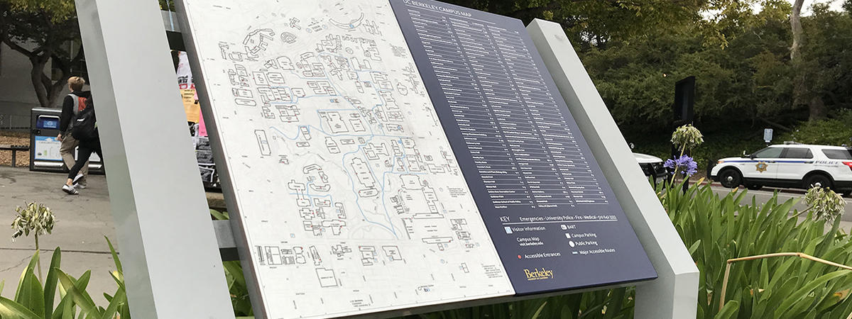 A close-up picture of a locator map, similar to maps posted at every pedestrian entrance to the campus