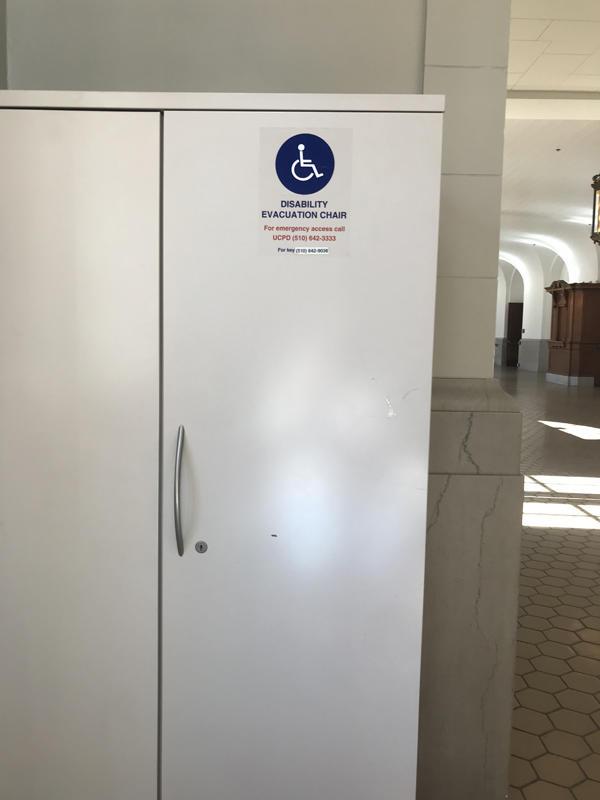 The first floor evacuation chair for Wheeler Hall, located near the south entrance.