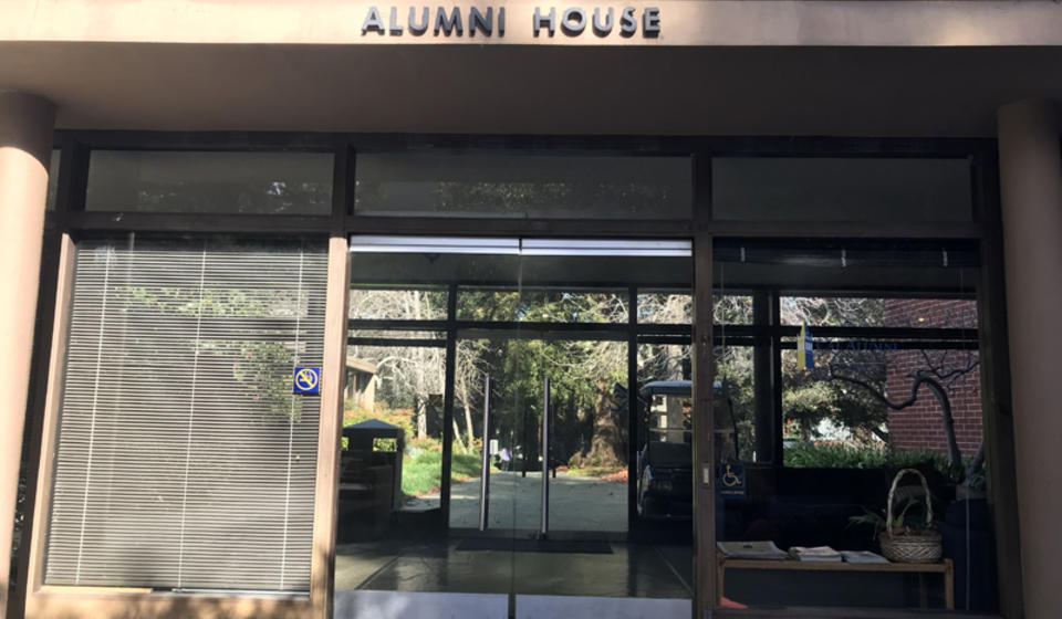 The south side accessible entrance to the Alumni House. The entrance's double doors are at ground level, and are not automatic.