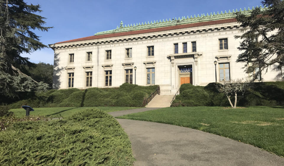 The front side of California Hall, facing west. The accessible path is located on the south side of the building.
