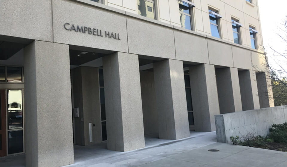 The front side of Campbell Hall, facing north. The access path is directly in front of the building.