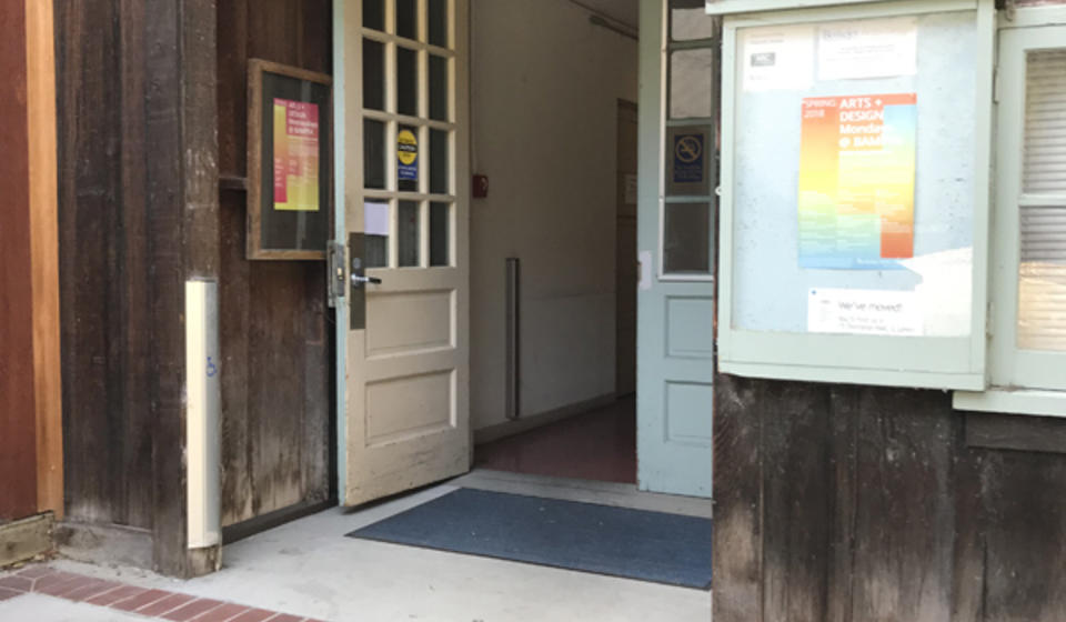 The main entrance to Dwinelle Annex. To the left of the doors is an automatic door opener.
