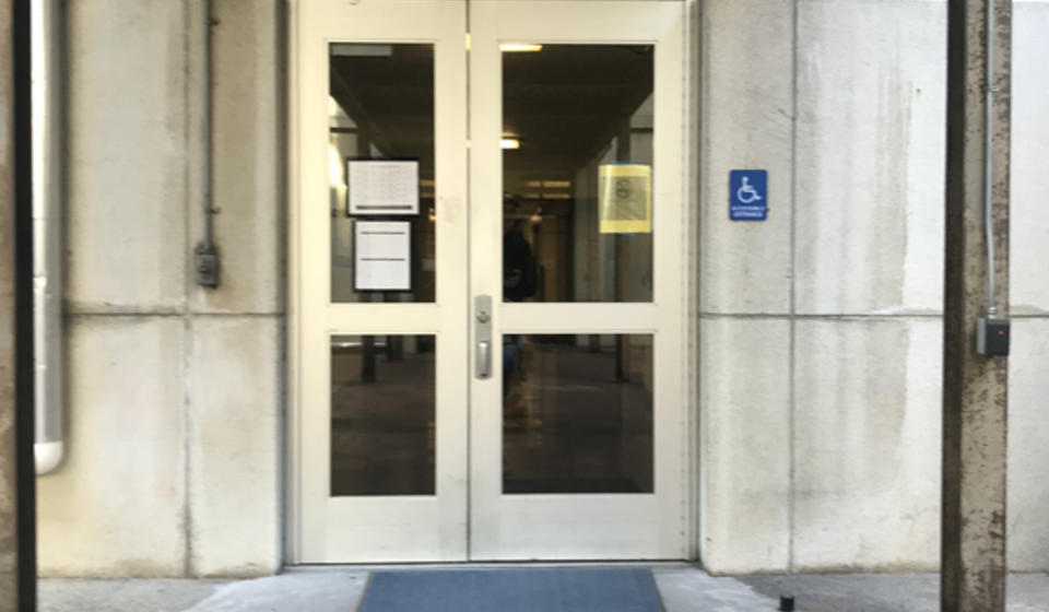 The accessible entrance to LeConte Hall, located on the building's south side.