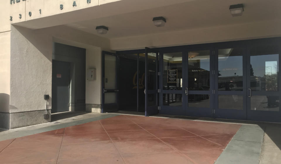 The main entrance to RSF. The leftmost set of doors has an automatic door opener on the left of the entrance.