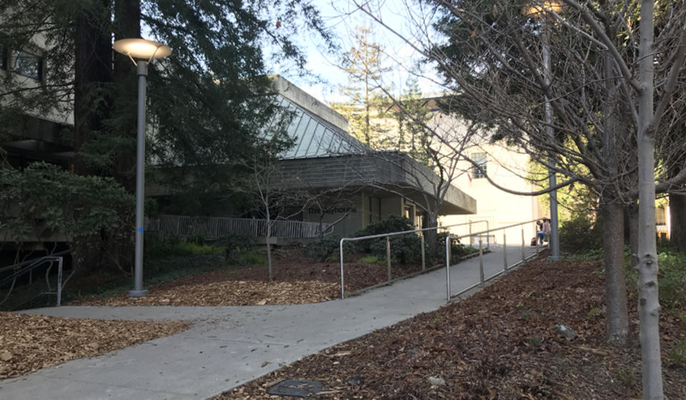 The access path to Zellerbach Playhouse, located to the east of the building.