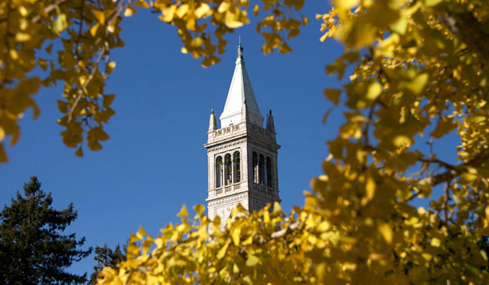 A distant view of the Campanile, surrounded by yellow leaves.