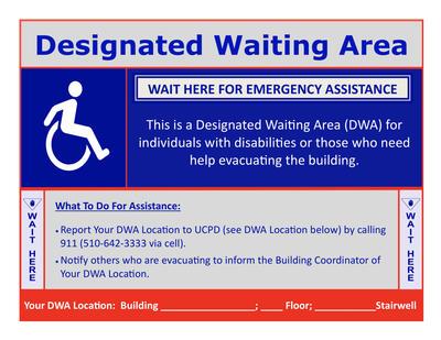 A sample Designated Waiting Area sign.